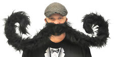 "SUPER HUGE 60"" BLACK CURLED  ENDS MUSTACHE STACHE FUNNY COSTUME ACC GC5470BK"