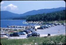 Bunches of Cool Old Cars Parked At a Mountain Lake Resort Vtg 1940s Slide Photo