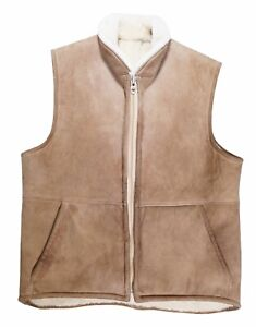 VTG Sawyer Of Napa Valley Shearling Sheepskin Vest Mens Large Leather Cowboy