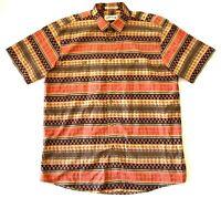 Orvis Aztec Striped Hawaiian Aloha Short Sleeve Shirt Mens Size Large L