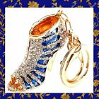 Rhinestone Crystal BlueShoe Handbag Purse Charms Keychains Bling Accessories lot