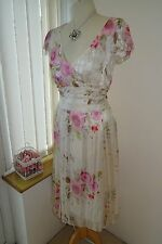 New Pretty Ladies Phase Eight Romantic White Pink Roses Floaty Silk Dress UK 12