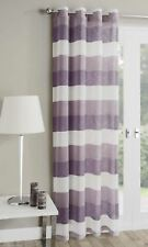 """Mykonos Plain Striped Soft Linen LOOK Eyelet Ring Top Voile Single Curtain Panel Heather Purple Lilac Stripped 55"""" Inches Width X 90"""" Drop"""