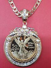 14K Gold Plated* 50 Pesos Centenario Coin CZ Holder Pendant  Scorpion