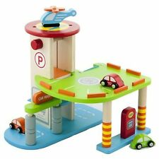My First Wooden Toy Car Parking Garage Childrens Kids Wood Play Set Vehicles