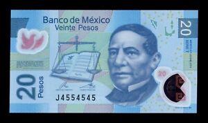 B-D-M México 20 Pesos Benito Juárez 2012 Pick 122t Serie T Polymer SC UNC