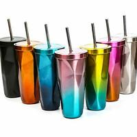 Travel Stainless Steel Coffee Cup Tumbler Vacuum Insulated Mug with Brush&Straw