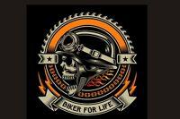 Drapeau fanion biker Skull tête de mort Biker for life LUXE moto custom flag