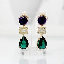 orecchini A perno Dorato Art Deco Goccia Viola Scuro Verde Smeraldo YW9