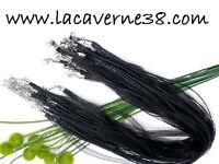 1/10  Tour de cou Cordon Organza Coton Ciré collier bijoux 43cm couleur/noir