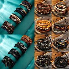 Men Women Punk Rock Multilayer Leather Bracelet Wristband Bangle Jewelry Gfts
