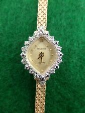 Solid 14K Gold & Diamond Ladies Helbros Wrist Watch With 14K Mesh Band