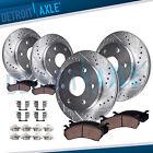 Front & 325mm Rear Drilled Brake Rotors Brake Pad Kit for Silverado Sierra 1500