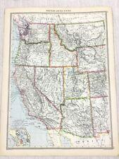 1909 Antique Map of The Western United States Oregon California George Philip