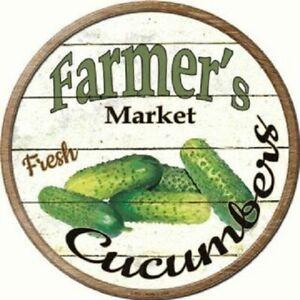 "FARMERS MARKET CUCUMBER 12"" ROUND LIGHTWEIGHT METAL WALL SIGN DECOR RUSTIC"