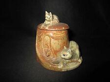 ancien moutardier de table avec chat porcelaine peinte Art Nouveau fin XIX ème