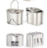 Stainless Cooking Set Kit outdoor camping stove cup w/lid