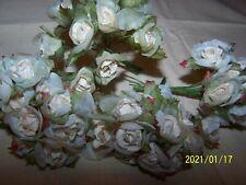 Joli bouquet de 12 fleurs en tissu sur tiges. Couleur blanc/rose. Superbe. N°254