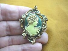 (CS36-25) Woman with hair band green + ivory CAMEO jewelry Pin Brooch Pendant