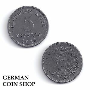 5 Pfennig Eisen 1915 1916 1917 1918 1919 1920 1921 1922 A D E F G J
