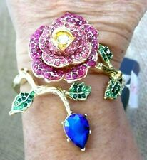 Betsey Johnson Rose Branch Hinged Cuff Bracelet Pink Pave Crystals + Blue Stone