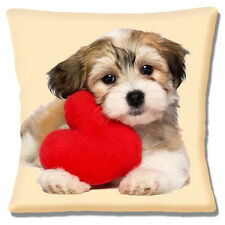 "NEW CUTE HAVANESE PUPPY DOG RED HEART VALENTINE LOVE 16"" Pillow Cushion Cover"