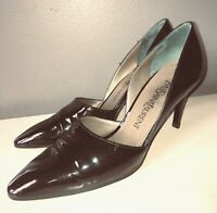 VTG 90'S YSL YVES SAINT LAURENT BLACK PATENT LEATHER POINTY PUMP HEELS SHOES*6.5