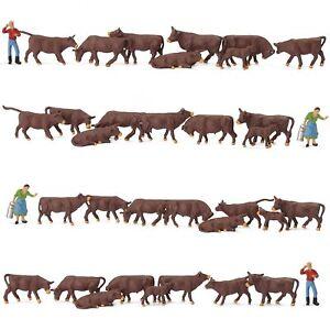 36pcs Model Railway HO Scale 1:87 Farm Animals Black Brown Cows Cattle Shepherd