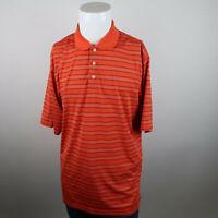 PGA Tour Golf Polo Shirt Mens XL Orange Short Sleeve Stripe Activewear Outdoor