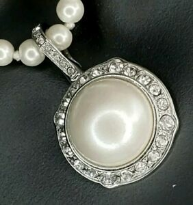 Monet Mabe Pearl Silver Rhinestones Necklace Beaded Delicate Vintage Style *NOS