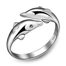 New Fashion Women Plated silver Double Dolphin Opening Adjustable Rings Gift