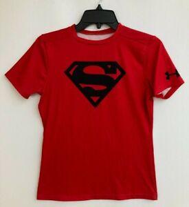 Under Armour Superman Compression HeatGear Shirt YXL Red Black Logo