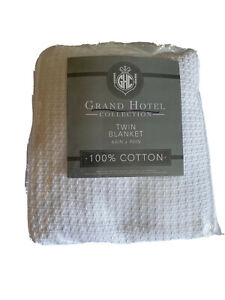 Grand Hotel Cotton Woven Blanket - TWIN - WHITE 66x90 Inches New