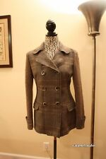 Hanita Made in Italy Wool Blend Double Breasted Coat Jacket Brown Grey Plaid L