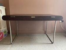 RARE Large Modern Wood Desk - Stainless Steel Legs