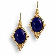 "Egyptian Jewelry Lapis Revival Earrings 22 Karat Gold Plated 1-1/2"" Long"