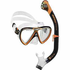 Cressi Ikarus & Orion Dry Mask Snorkeling Set - Black/Orange