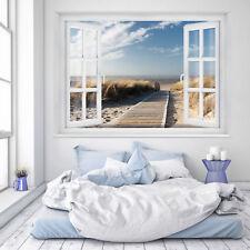 FOTOTAPETE Fenster 3D Strand 183 x 127cm Meer Strand Dünen Ostsee Nordsee Tapete