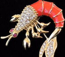ORANGE SEA LIFE CREATURES SWIMMING PRAWN CRUSTACEAN SHRIMP PIN BROOCH JEWELRY