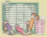 Mice with Popsicles and Fan DIGITAL Counted Cross Stitch Pattern Needlepoint