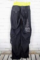Zumba Cargo Pants Dance Fitness Black Neon Yellow Harem Women's Size Medium