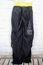 Zumba Cargo Pants Dance Fitness Black Neon Yellow Harem Women's Size Medium