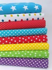POLY COTTON FABRIC BUNDLE 8 X FAT QUARTERS OR SQUARES  **STARS AND SPOTS**
