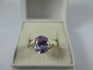 BEAUTIFUL PRE-OWNED, 9ct GOLD AMETHYST RING UK SIZE O1/2  1.7g