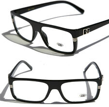 DG Rectangular sophisticated Clear lens Sun-Glasses Fashion Eyewear Black 23059