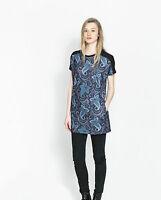 ZARA Blue Floral Print Gorgeous Kaftan Tunic Mini Dress size MEDIUM  Casual