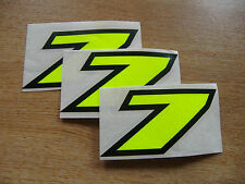 set of 3 - Black & Fluorescent Yellow number 7 decals / stickers IMPACT 60mm