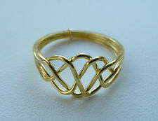 4 Band Puzzle Ring Scroll Knot Chain Design 14k Gold Plated Size 5 6 7 8 9 10