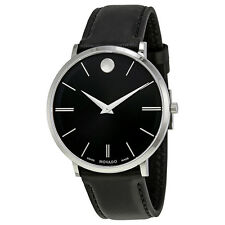 Movado Ultra Slim Black Sunray Dial Mens Watch 0607086