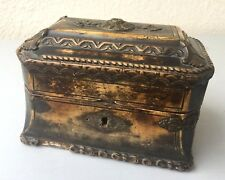 Ancien coffret boite à bijoux en bois, stuc et bronze XIXème